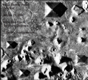 This is the true picture from NASA's 2011 mission showing only various pyramids from an aerial view.
