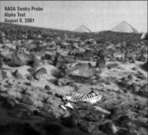 This is the legit picture from NASA's 2001 mission showing the bones of what appears to be a large draconic-looking creature with pyramids in the background.